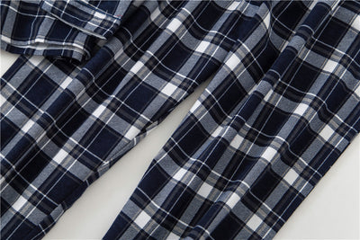 New Cotton Mens Winter Plaid Long Sleeve Pants Flannelette Pajamas Set Men Sleepwear Keep Warm Flannel Nightgown Couple Set