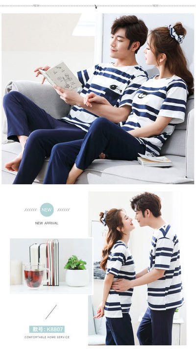 Summer Men Pajamas Set Cotton Striped Short Sleeve Round Neck Couple Pajamas Set Plus Size M-3XL Leisure Loose Lovers Pyjamas