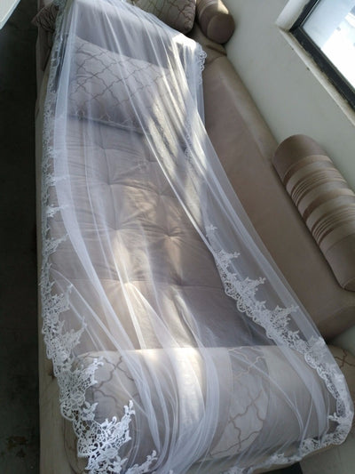 Hot Sale 2020 Wedding Veil Lace Cathedral wedding accessories White Ivory 2.7 M Cheap Long Voile Marriage Bridal Veil With Comb