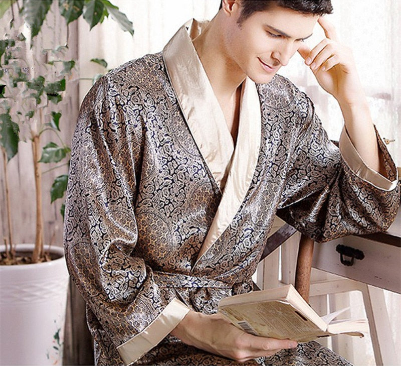 Men Silk long-sleeved Bathrobe Plus Size 5XL kimono Home Bath Gown Male Printed Geometric Robes V-neck Satin Sleepwear Nightgown