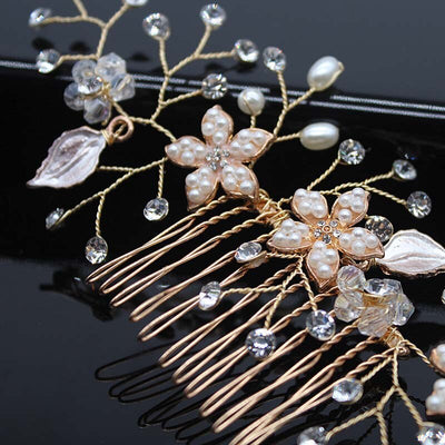 19 Stykle Wedding Hair Combs Bride Head Ornaments Pearl Headdress Hair Accessories Bridal Rhinestone Weave Women's Jewelry