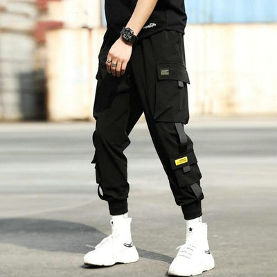 Streetwear Hip Hop Black Harem Pants Men Elastic Waist Punk Pants With Ribbons Casual Slim Jogger Pants Men Hip Hop Trousers