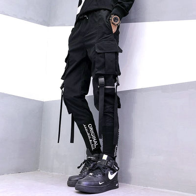 Streetwear Ribbons Pockets Harem Pants Men Spring Summer Casual Sweatpants Hip Hop Joggers Slim Fit Black Men Pencil Pants