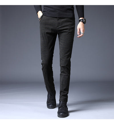 2019 New Pants Men Casual Elastic Long Trousers Male Cotton stripes straight gray Work Pant men's autumn winter Large size 28-38