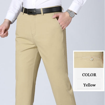 Middle-aged Casual Trousers Men's Straight Trousers Slacks High Waists Dad's Thin Trousers Breathable Cotton Male Suit Pants