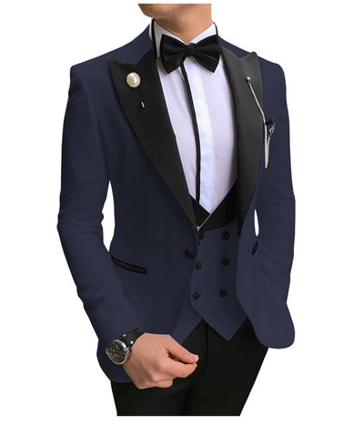 Men Suits 3 Pieces Slim Fit Business Suits Groom Champagne Noble Grey White Tuxedos for Formal Wedding suit (Blazer+Pants+Vest)