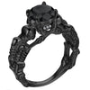 UFOORO Ghost evil Skull skeleton Ring Black Stone Punk Men engagement Ring 5 - 12 royal blue black pink green men's jewelry