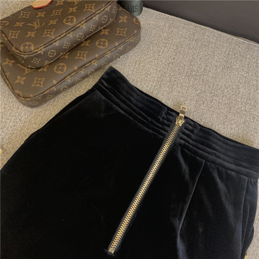 2020 Spring Autumn Women Skirts High Waist Velvet Skirts Warm OL Mini Skirt Lady sexy Black Pencil Skirts Saia