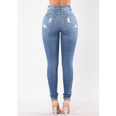 Dilusoo Women High Waist Jeans Pants Elastic Holes Denim Jeans 4 Season Pencil Pants Ripped Women's Casual Jeans Trousers 2020