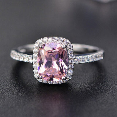 PANSYSEN Charms 7x9MM Purple Natural Amethyst Rings For Women Genuine Silver 925 Jewelry Ring Wholesale Wedding Party Gifts