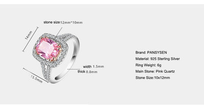 PANSYSEN 100% Solid 925 Silver Jewelry Rings For Women 10x12mm Pink Spinel Diamond Fine Jewelry Bridal Wedding Engagement Ring