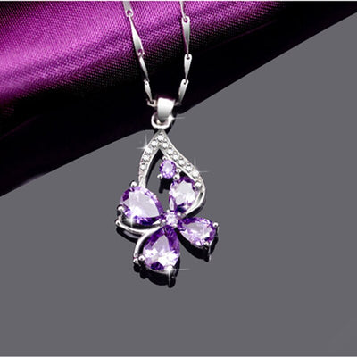 PANSYSEN New Trendy Silver 925 Jewelry Amethyst Gemstone Pendant Necklaces for Women Wedding Party Fine Jewelry Necklace Gift