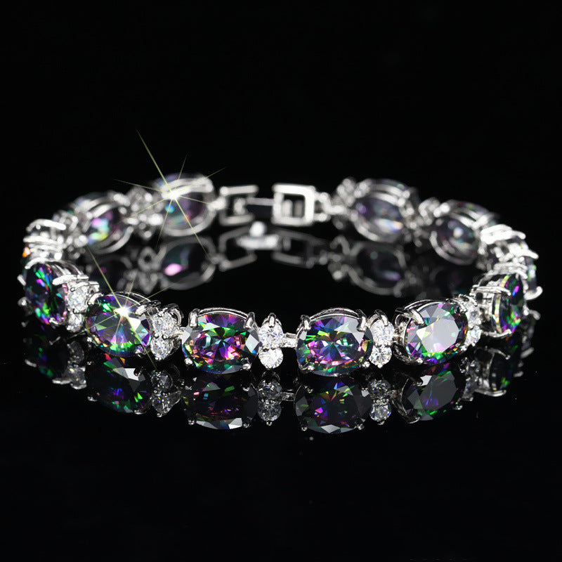 PANSYSEN Vintage Rainbow Topaz Bracelets for Women Luxury Charms Silver Bangle Bracelet Female Wedding Party Fine Jewelry Gifts