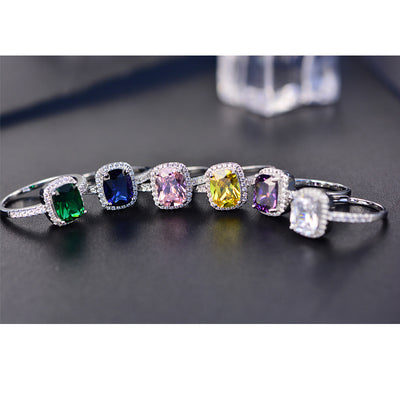 PANSYSEN 6 Colors Real Sterling Silver 925 Jewelry Emerald Gemstone Rings For Women New Fashion Wedding Party Ring With Zircon