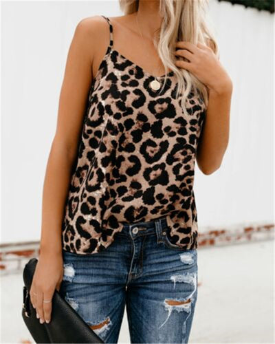 2019 New Sexy Women Summer Casual Tank Vest Leopard Tops Vest Sleeveless Strap Leopard Print Tank Camisoles V-neck Clubwear Tank