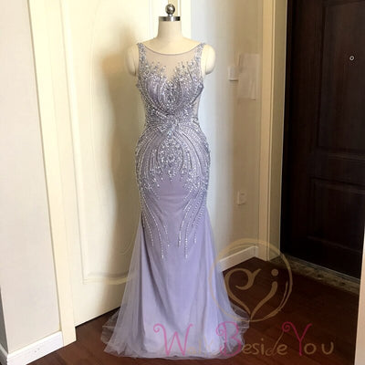 Lavender Evening Dresses 2020 Mermaid Sleeveless Long Formal Dress Women Elegant Beaded Crystal Sheer Neck Sweep Train Prom Gown