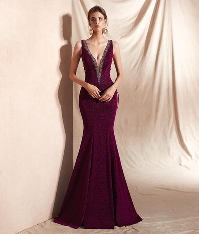 Fuchsia Evening Dresses Sparkle Crystal Mermaid Elegant V Neck Sexy Backless Lace Up Prom Gowns Long robe soiree Walk Beside You