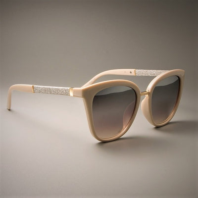 45074 GORGEOUS Ladies Square Sunglasses For Women Beige Frames Silver White Lens Brand Designer Eyewear UV Protection Glasses
