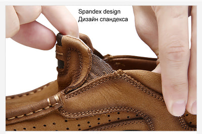 MVVT 100% Genuine Leather Shoes Men Cow Leather Casual Shoes Male Outdoor High Quality Men Flats 2 Style Lace-Up Man Footwear