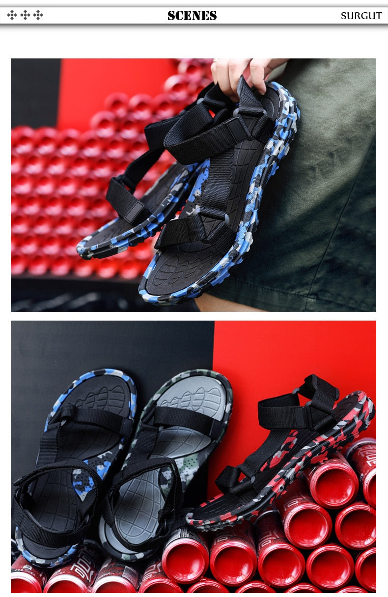 SURGUT Summer Men Sandals New Gladiator Beach Shoes Male Camouflage Slippers Sport Water Flip Flops Masculina Zapatos De Hombre