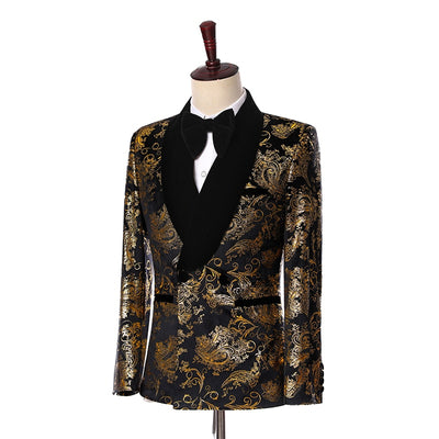 2019 Elegant Black Velvet Gold Flower Double Breasted Groom Tuxedo For Men Wedding/Prom Suits Mens Suits With Pants Bridegroom