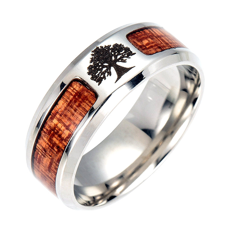 8MM Wood Life Tree Family Tree of Life Healing Ring Jewelry Gifts for Women and Teens Girls