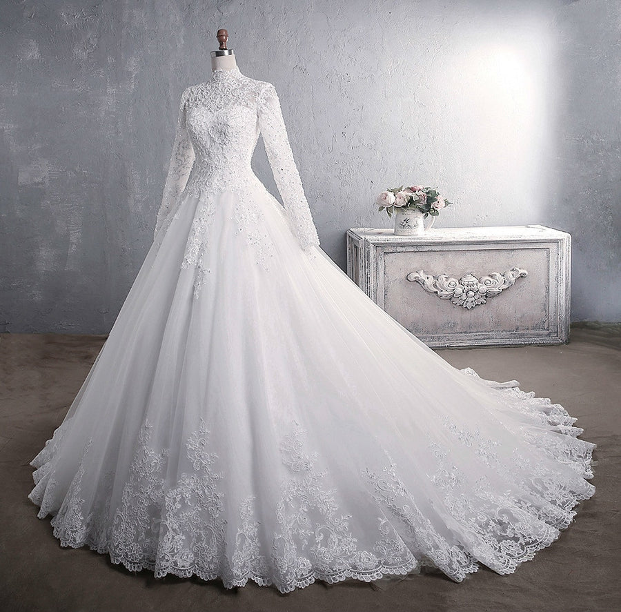 New Romantic Sweet Elegant Princess Luxury Lace Wedding Dress 100 cm Long Sleeves Appliques Celebrity