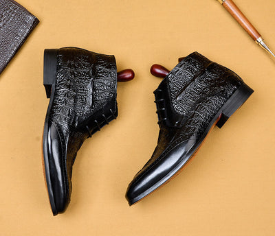 QYFCIOUFU Men Dress Genuine Cow Leather Boots Basic Handmade Fashion Brand Lace-up Ankle Men's Pointed Toe Dress Oxfords Shoes