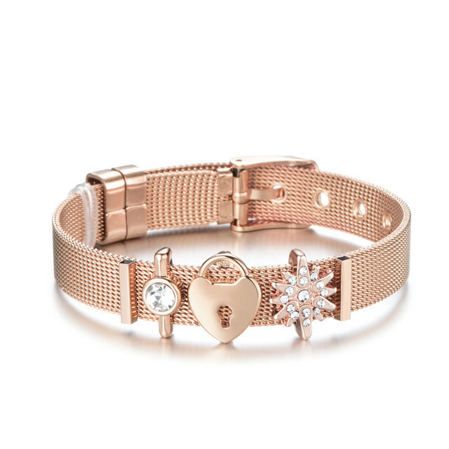 Dropshipping Fashion Jewelry Rose Gold Mesh Charm Bracelet Set Stainless steel DIY Brand Bracelet Bangle for Women