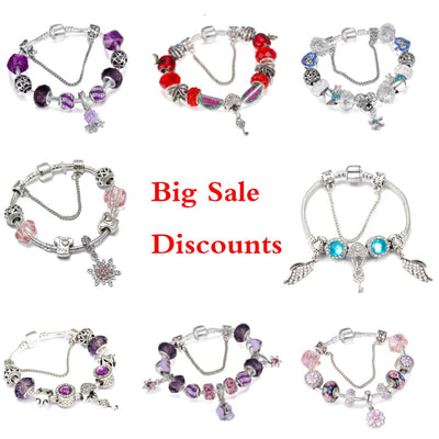 Clearance Sale Big Discounts Summer Style Charm Bracelet Angel wings watermelon Love Heart Fit Brand Bracelet For Women