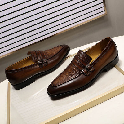 FELIX CHU Casual Business Men's Dress Shoes Genuine Leather Crocodile Print Brown Party Wedding Mens Loafers With Double Buckles