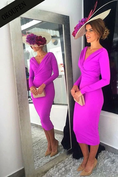 Simple Mother of the Bride Dresses 2019 Below Knee Length Women Long Sleeves V-Neck Fuchsia vestido de madrinha farsali farsali