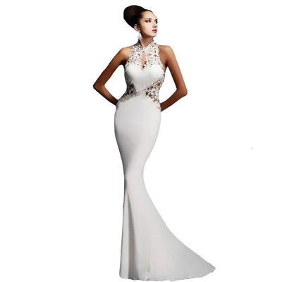 BacklakeGirls Applique Halter Neck Sleeveless Satin Mermaid Evening Dress Sexy Open Back Trumpt Party Dress Robe Longue Soiree