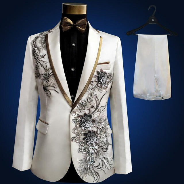 Three Pieces Set Suits Men's Singers Perform Stage Show Sequins Embroidered Flower Red Blue Pink Wedding Suit Costume Homme