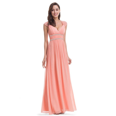Plus Size Elegant V-Neck Long Evening Dress EB27968 2020 Cheap Chiffon Party Gowns Ruched Beading Empire Hollow Out Formal Dress