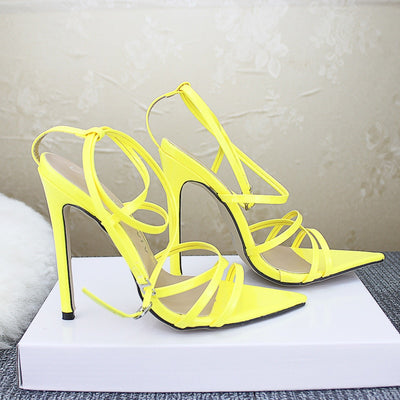 Sexy Yellow Sandals Ladies Sandals Summer New Pointed Fish Mouth Cross Stilettos Sharp Point Toe 11.5cm heels ZL-222-5