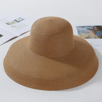 HT2303 2019 New Summer Sun Hats Ladies Solid Plain Elegant Wide Brim Hat Female Round Top Panama Floppy Straw Beach Hat Women