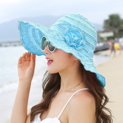 HT1676 2018 New Fashion Women Hat Korea Style Flower Packable Large Wide Brim Hat Anti-UV Adjustable Ladies Floppy Beach Sun Hat