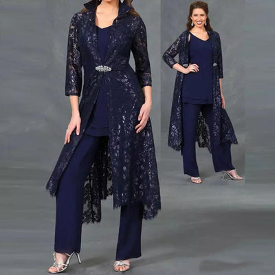 Three Pieces Mother of the Bride Pant Suits Plus Size V-neck  Lace Ankle Length  Formal Dress With Jacket