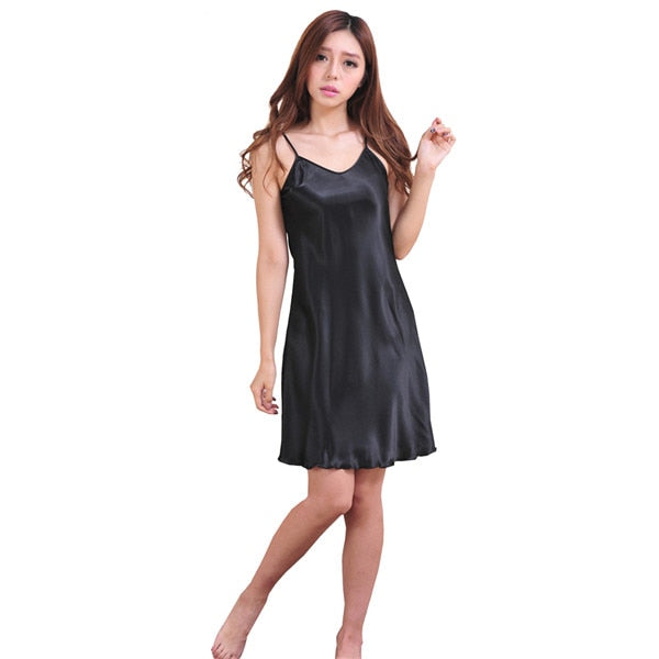 Blue Oversize Female Satin Rayon Nightgown Lady Sexy Spaghetti Strap Night Dress Women Nighties Sleeveles Sleepwear Nightwear