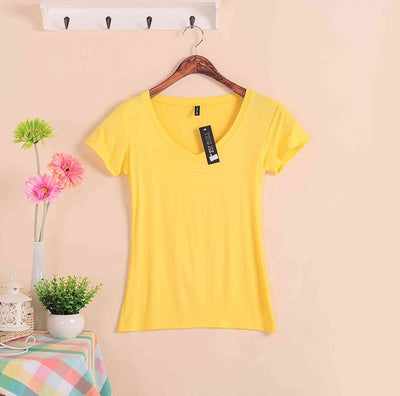 2020 Hot Sale Stretch Summer New Women T Shirts Ms Solid Color Short Sleeve tshirt Women's Fashion Cotton V-neck T-shirt W00622
