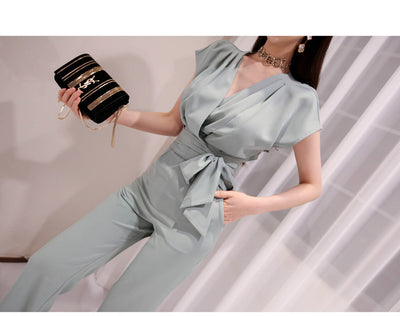 2020 Summer 2 Pieces set for women Sleeveless tops And Long Pant Suits V-Neck ladies work Wide Leg Office trousers Suit