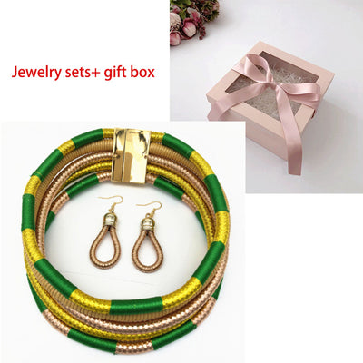 Liffly Brand Necklace Earrings Multi-layer Woven Jewelry Choker Necklace Bridal Wedding African Beads Jewelry Set for Women