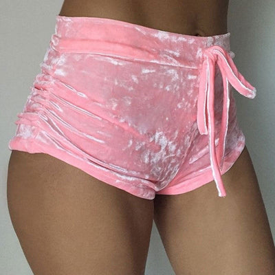 New arrival Pretty Little Thing Womens Ladies Pink Crushed Velvet Runner arrival Short Hot Casual Women Skinny Drawstring Shorts