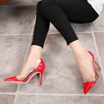 Women Pumps  Transparent High Heels Sexy Pointed Toe Slip-on Red Wedding Party