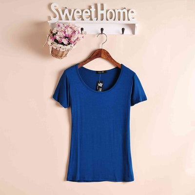 2020 High Elastic Regular Cotton New Summer Women's T Shirt Ladies' Short Sleeve T-shirt Ms Solid Casual Tee Shirts Plus Size