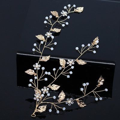 Gold Leaf Bride Tiaras Headpiece Wedding Bridal Hair Accessories Crystal Simulated Pearl Braided Headbands Hair Jewelry