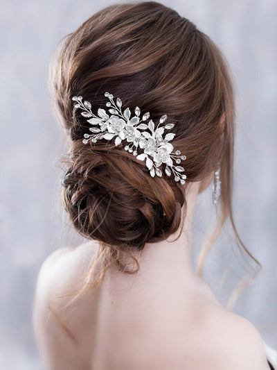 Flower Hair Comb Wedding Hair Accessories Silver Rhinestone Flower Headband Bridal Tiara Headband Hair Pins Wedding Hair Jewelry