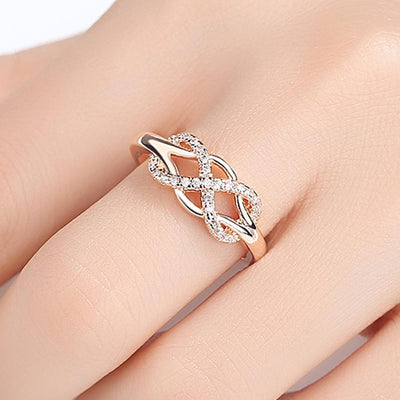 Beiver New Cubic Zirconia Crystal Infinite Rings For Women Fashion Design Statement Rose Gold Color Ring Wedding Jewelry