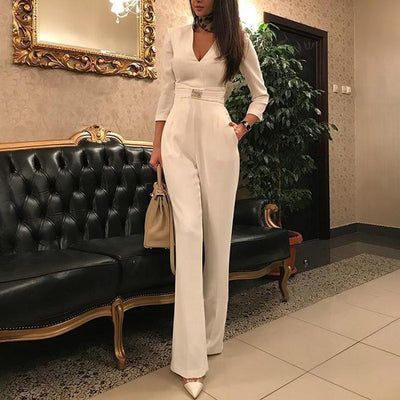 Sexy V-neck Long-sleeved Jumpsuits Women Rompers Straight White Jumpsuit Elegant Autumn Onesies For Woman Slim Rompers